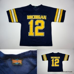 VTG Boys Michigan Wolverines Football Jersey #12 M